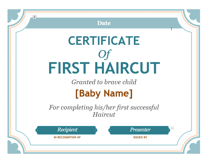 First Haircut Certificate Template 02