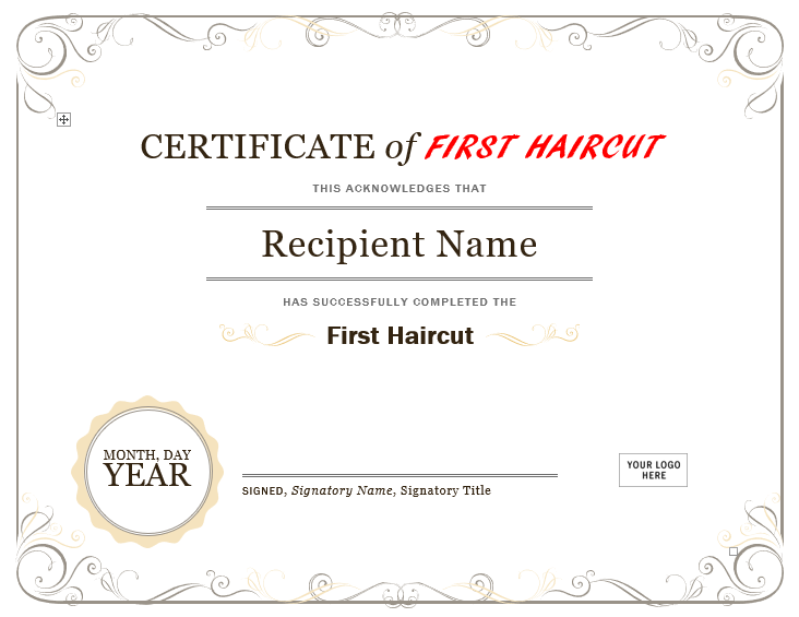 First Haircut Certificate Template 03