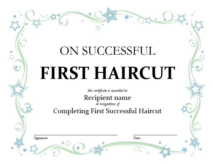 5 Free Printable First Haircut Certificate Templates Blue Layouts