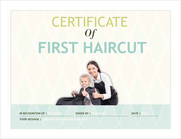 First Haircut Certificate Template 05