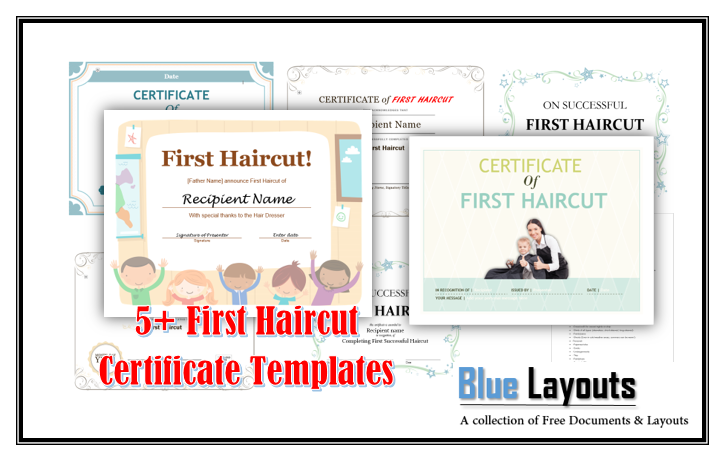 5 free printable first haircut certificate templates blue layouts yelopaper Image collections