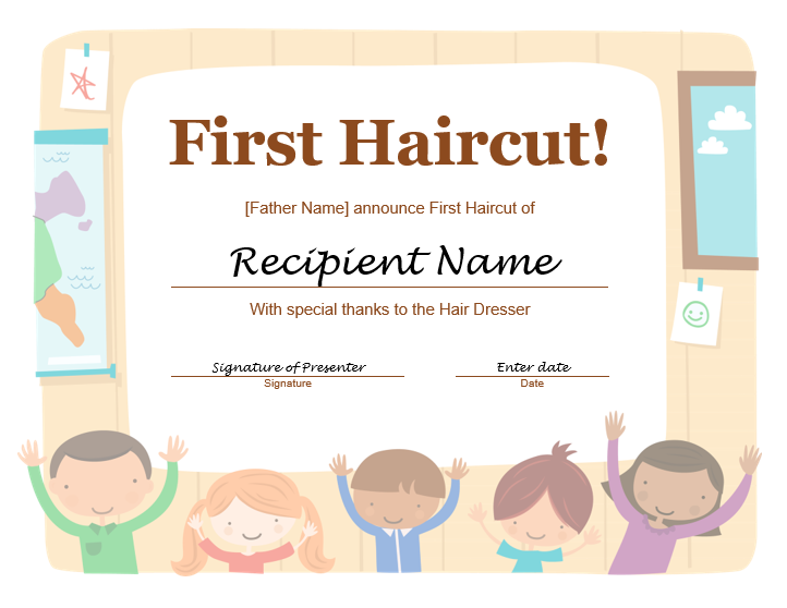 5+ Free Printable First Haircut Certificate Templates - Blue Layouts