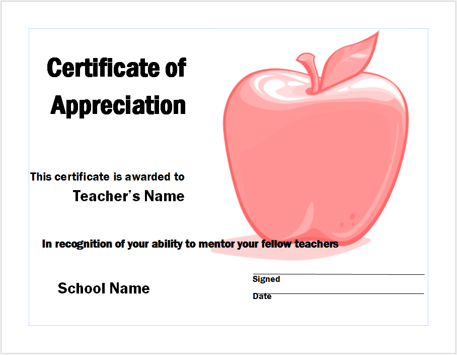 Appreciation Certificate Template 02