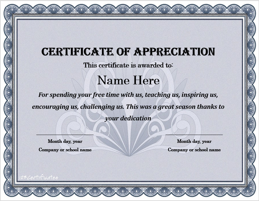 Appreciation Certificate Template 04