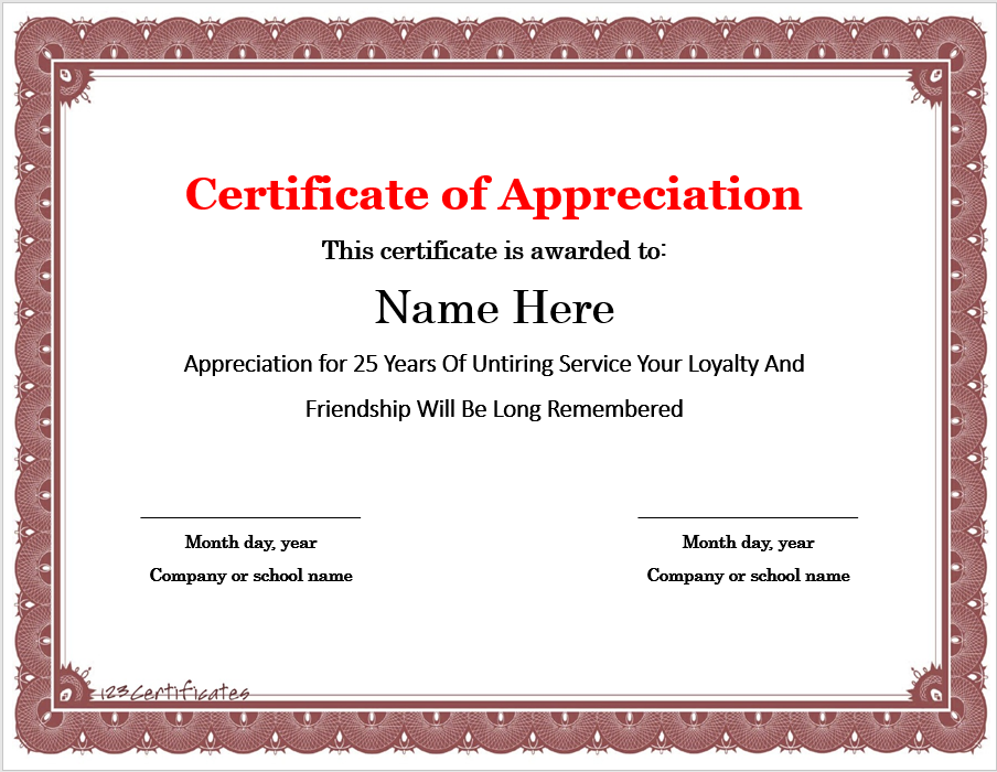 Appreciation Certificate Template 05