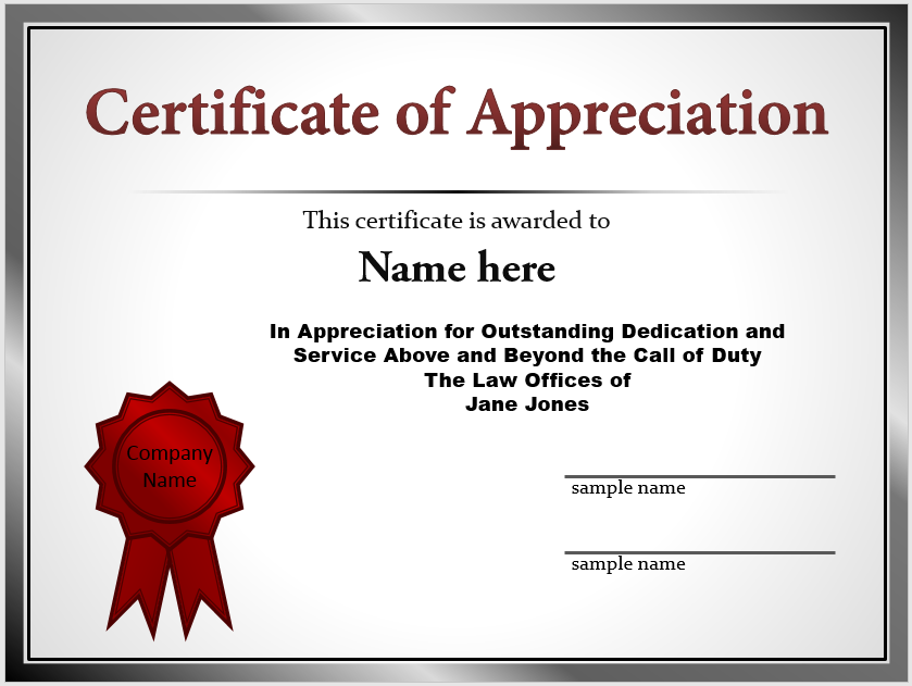 Appreciation Certificate Template 08