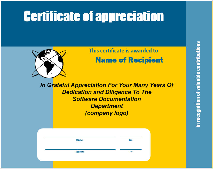 Appreciation Certificate Template 09