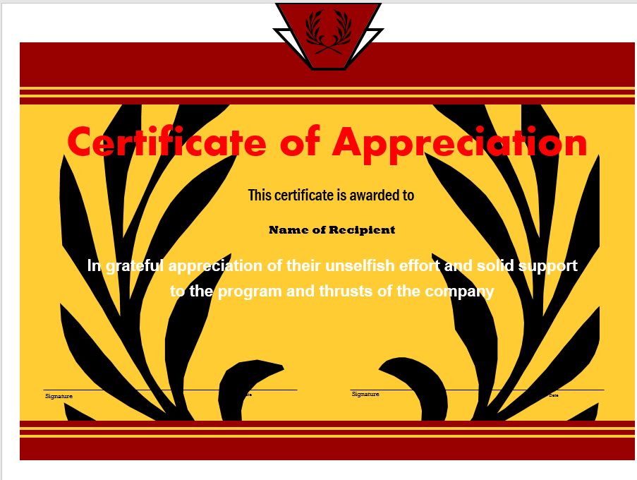 Appreciation Certificate Template 10