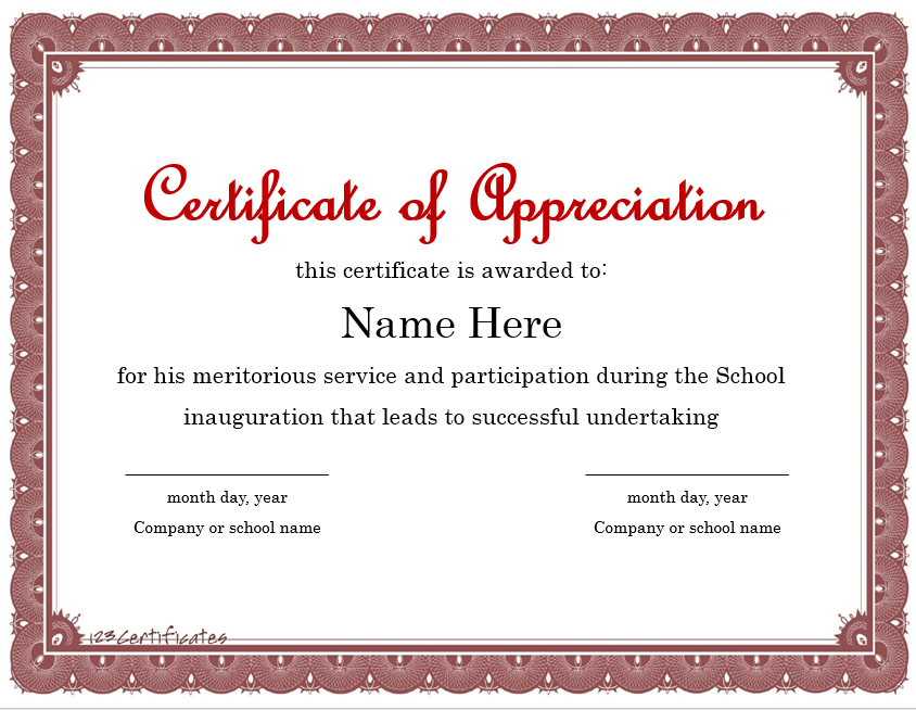 Appreciation Certificate Template 12