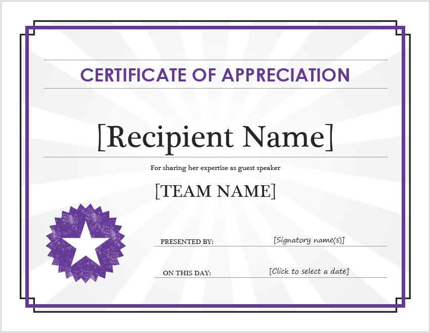 Appreciation Certificate Template 14