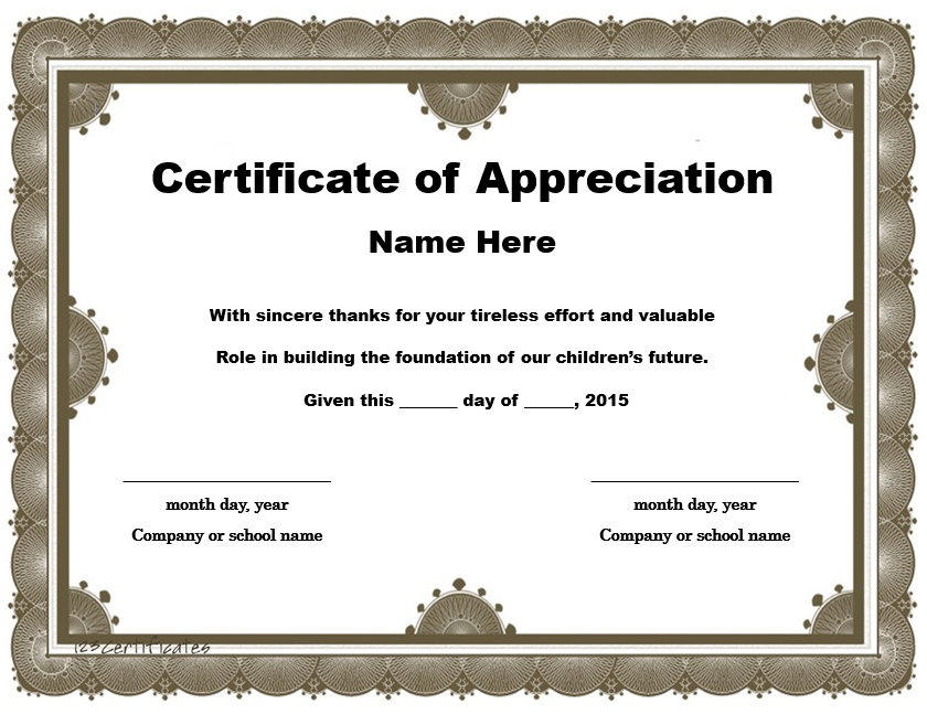 Appreciation Certificate Template 17