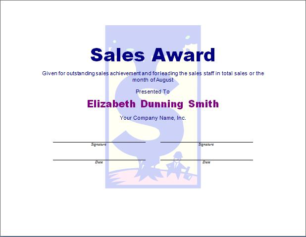 Sales Award Template