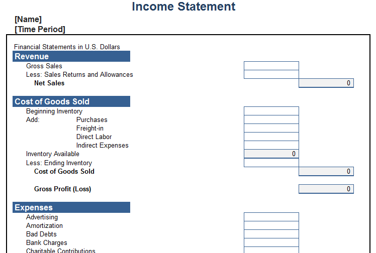 Personal Income Statement Template - Blue Layouts