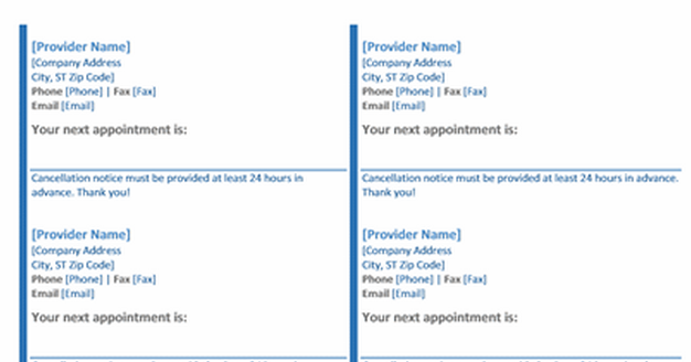 Appointment Slip Template