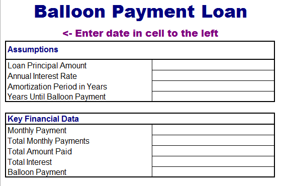 Balloon Loan Payment Template