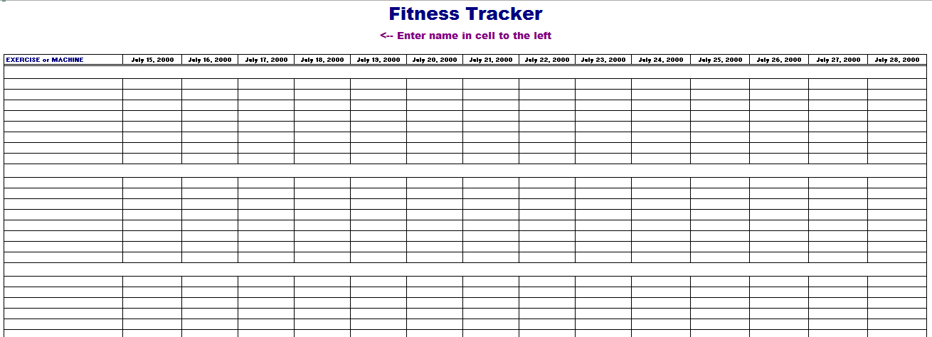 Fitness Tracking Template