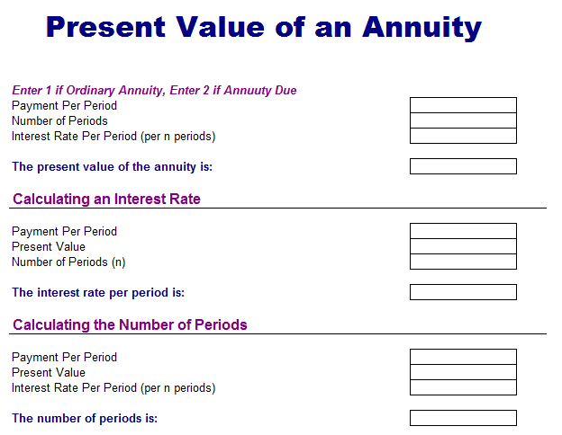 Present Value of Annuity Analysis Template
