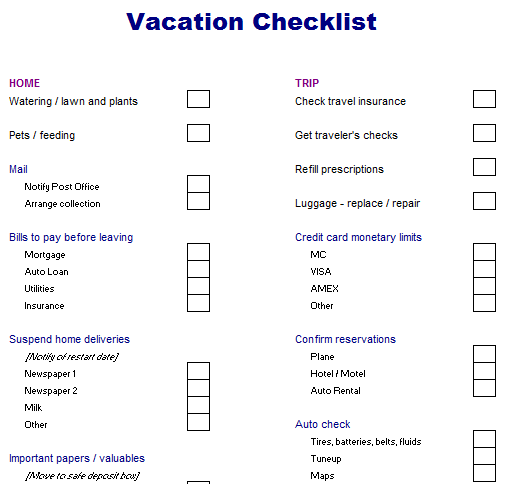 Sample Vacation Checklist