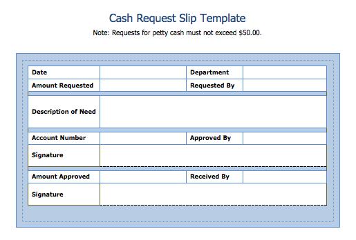 Cash Slip Template
