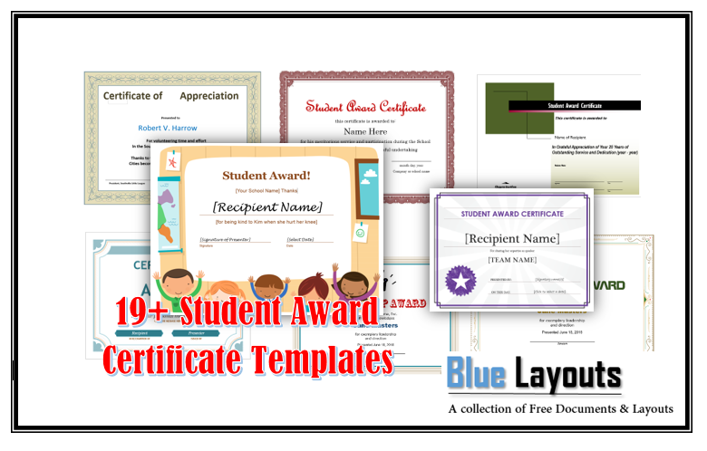 19 Free Student Award Certificate Templates Blue Layouts