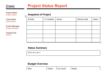 Project status report template 01