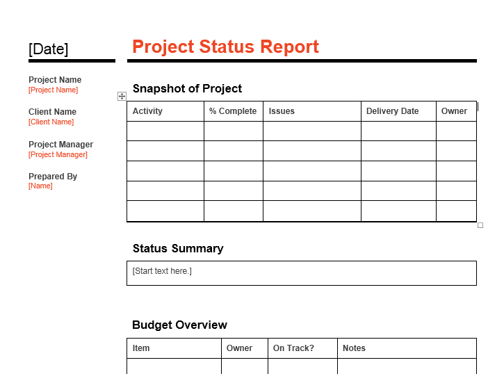 16 Free Project Status Report Templates Ms Word Ms Excel