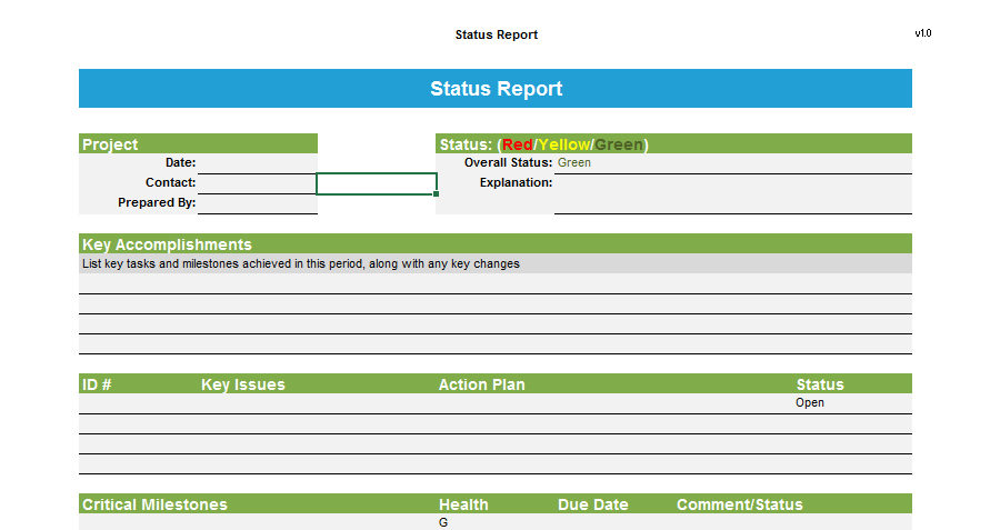 Project status report template 03
