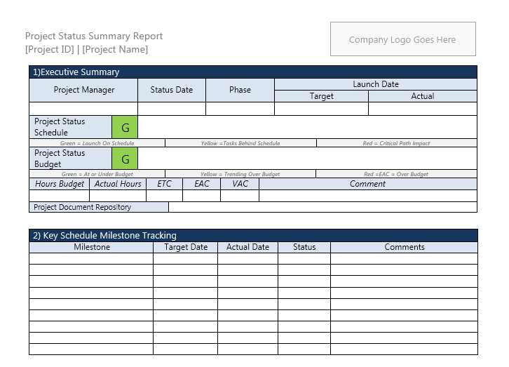 Project status report template 05