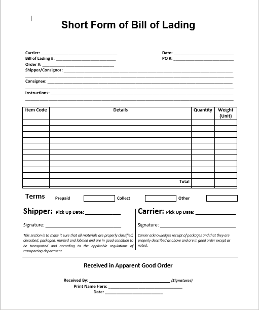 bill of lading template 05