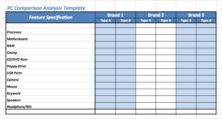 PC Comparison Analysis Template