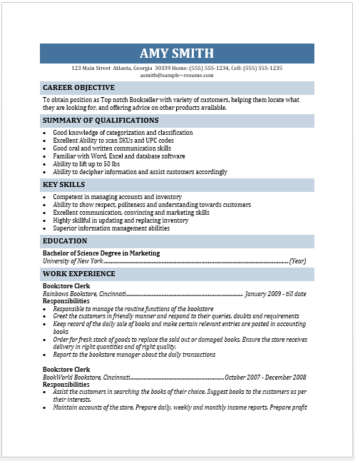 Bookseller Resume