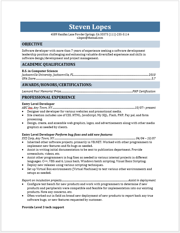Developer Resume Examples Archives Blue Layouts