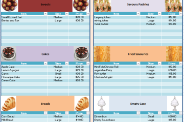 Bakery Price List Template