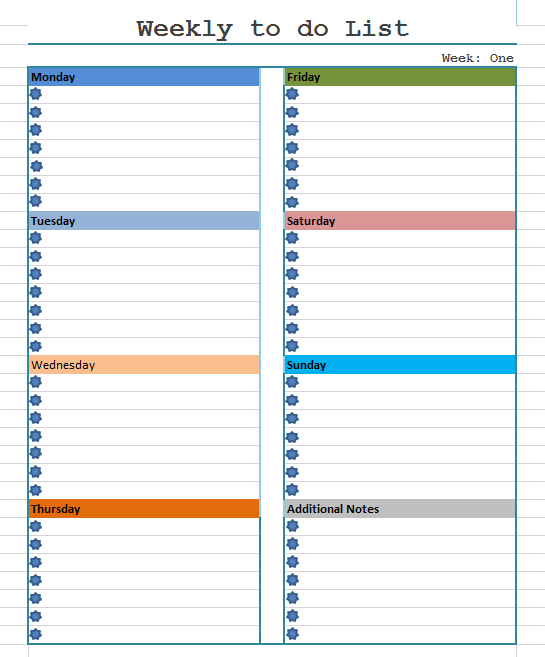 Weekly To Do List Template - Blue Layouts