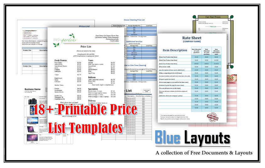 18 free price list templates ms word and ms excel templates wajeb Gallery
