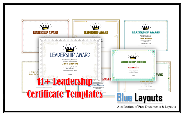 11 Free Leadership Certificate Templates Blue Layouts