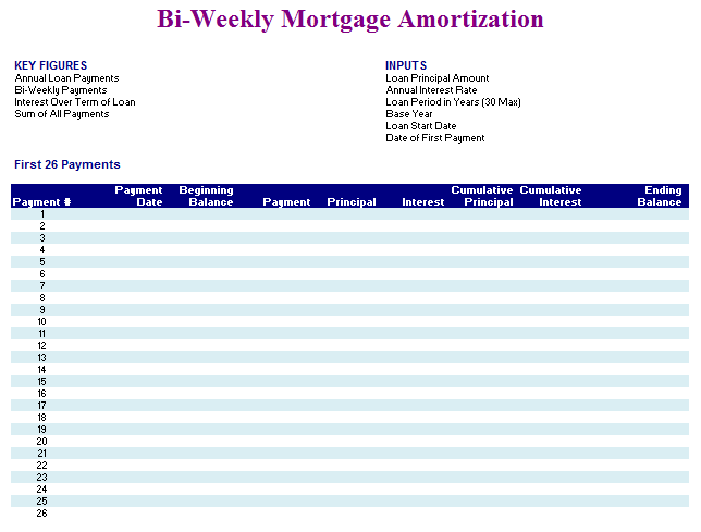 Biweekly Mortgage Amortization Sheet Template Blue Layouts
