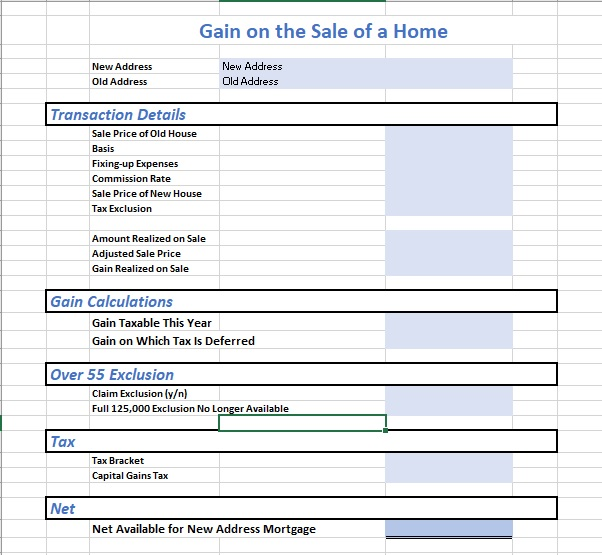 Gain on Home Sale Sheet