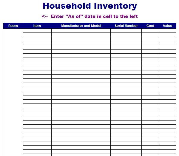 Household Inventory Template