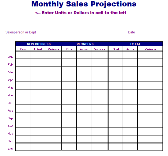 Monthly Sales Projections Template Blue Layouts