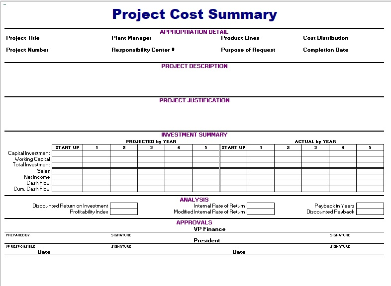 Project Cost Summary Template