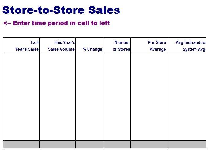 Store-to-Store Sales Sheet