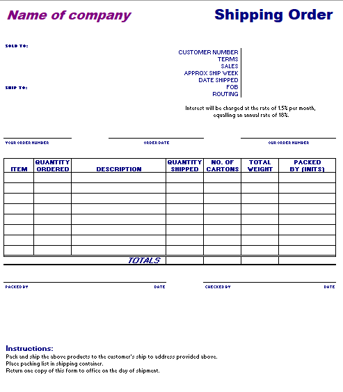 Shipping Order Template