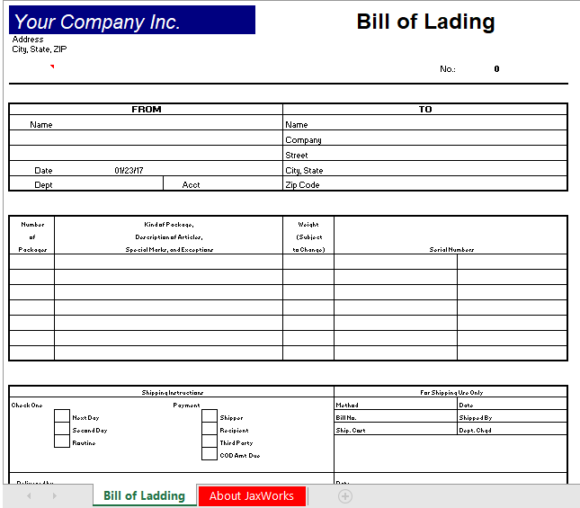bill of lading template 10