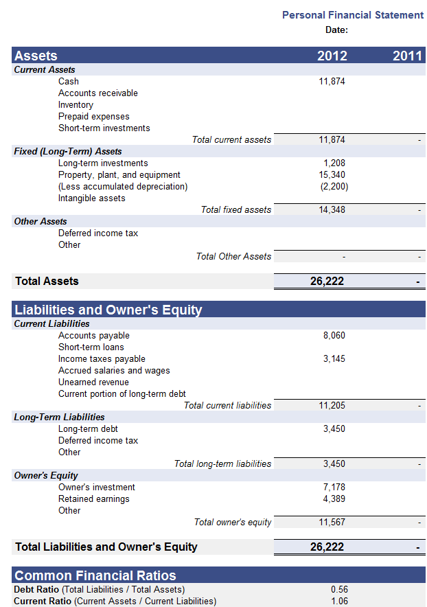Financial Statement Template 11