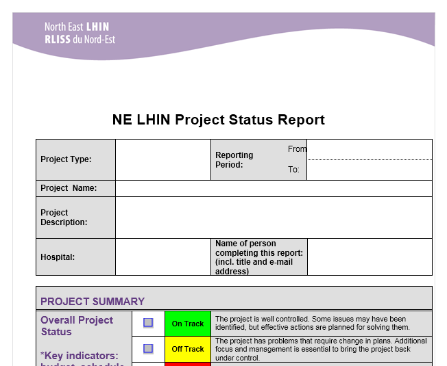 Project status report template 06
