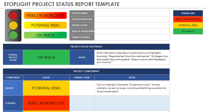 Project status report template 08