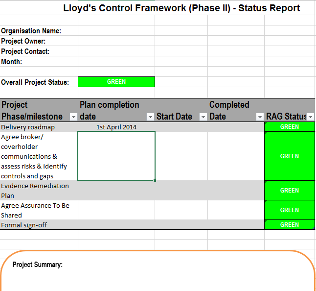 Project status report template 10