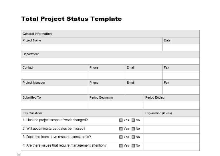 Project status report template 11