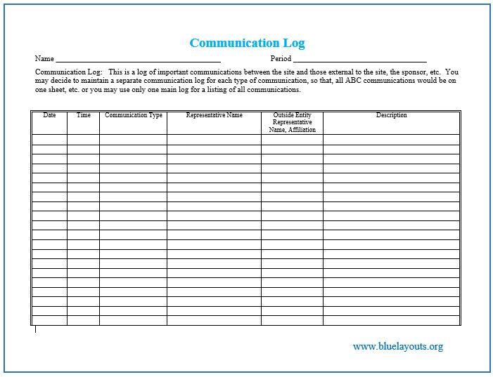 communication log template 02